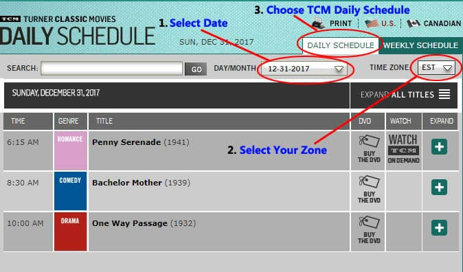 TCM daily schedule